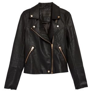 BLANKNYC faux leather jacket with rose gold